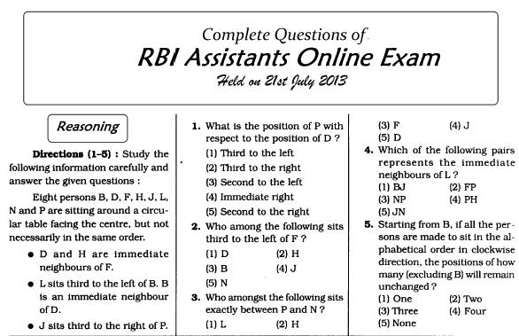 rbi assistant exam dates 2013